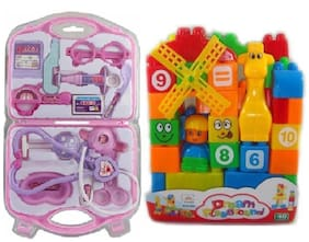 combo of 40 pcs. Building Blocks and fordable doctor play set for kids (multicolor)