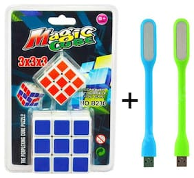 Combo of Cube 3x3x3 Sticker-less Rubik's Cube Puzzle (1Big+1 Small) with Free 2 pcs. Flexible Usb Led Light