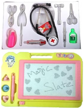 Combo Of Docter Play Set With Magic Slate ( Multicolor )