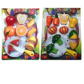 Combo of Educational Plastic Realistic Sliceable Fruit & Vegetable Cutting Pretend Play Set Toy for Kids