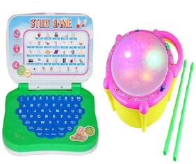 Combo of English Mini Laptop with Musical Flash Drum for kids