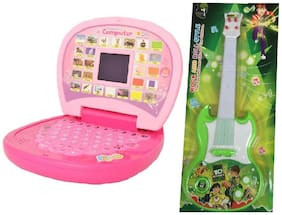 combo of Kids English Mini Laptop with small screen & Musical Guitar Fetching Light and Sound