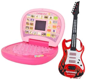 combo of Kids mini English Laptop with small screen & guitar with light & music(large)