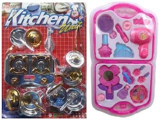 Combo Of Kitchen Play Set & Fashion Beauty Set