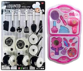 combo of Kitchen Unit Play And Fashion Beauty Set