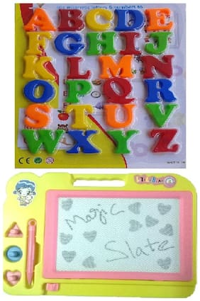 Combo Of Magnetic Learning Alphabet Capital Letters With Magic Slate