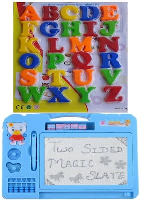 Combo Of Magnetic Learning Alphabet Capital Letters With Double Side Magic Slate
