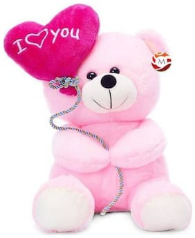 Combo of Multicolor Balloons Small Teddy Bear with I love you heart