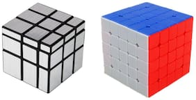 Combo of Silver Mirror Cube & 5x5 Cube Puzzle Game Toy
