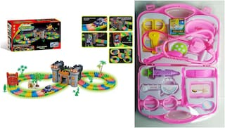 Combo Set Adventure Track Set Glow In the Night And Pink Doctor Play Set For Kids