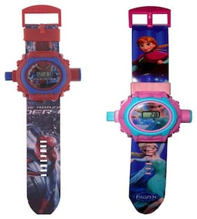 Combo Spiderman And Frozen 24 Image kids Projector Watch Pack Of - 2 By Signomark.