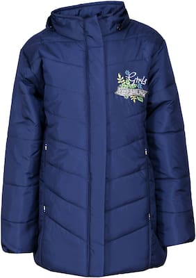 Come In Kids Girl Polyester Printed Winter jacket - Blue