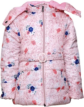 Come In Kids Girl Polyester Printed Winter jacket - Pink
