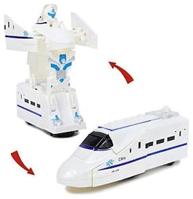 Convertible 2in1 Robot Train Transformer Toy for Kids - Multi Colour