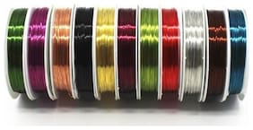 Copper Beading Wire For Diy Jewelry Beads , Set Of 10 Multicolored Jewelry Wires Size 0.3 Mm