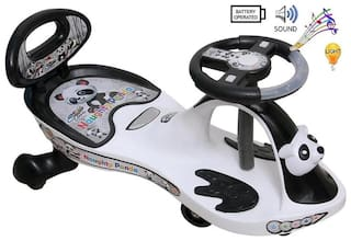 Coshmo Baby Branded Panda Magic Car With Black And White Ride On Car With Light And Music With Back Support 80 Kg Weight Capacity For Girls And Boys With Best Quality Plastic For Ur Kids.