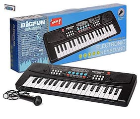Cossetpack Bigfun 37 Key Piano Keyboard Toy with mic dc Power Option Recording for Boys and Girls-Black with FRE POP Station Game. Multi