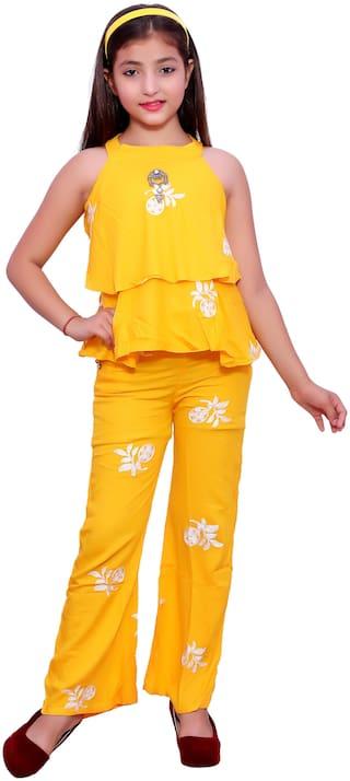 Elendra jeans Girl Rayon Top & Bottom Set - Yellow