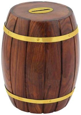 CRAFT ART INDIA-Decorative Handmade Wooden Barrel Shape Money Bank Piggy bank Coin Box {SIze(Inch):4.72x4x4/395 GR/CHD41A}