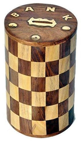 CraftShoppee Wooden Round Chess Design Money Bank