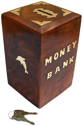 CraftShoppee wood Coin/Money/Piggy Bank Saving Box. - (Gift for Kids | Boys/Girls | Made with Rosewood )