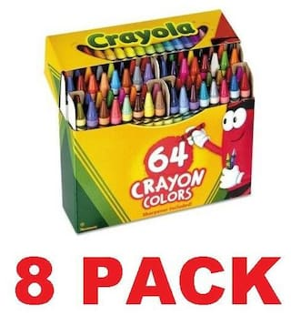 Crayola 64 Count Crayons (52-0064) Kids Coloring Assorted Crayon 8 PACK NEW