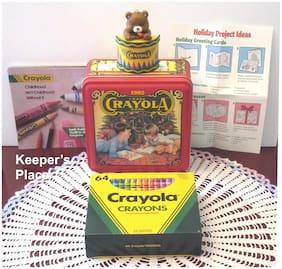 Crayola Holiday 1992 Collectible Tin Set w/ 64 Crayons Teddy & Bear Ornament New