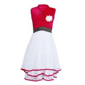CRAZEIS Pink Cotton Party Wear Dress