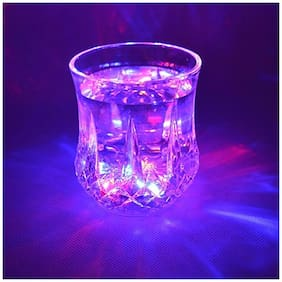 Crazy Sutra 7 Oz Automatic Light When Pour Water LED Light Up Drinkware Plastic Tumbler Cups Mug sensor light up drinkware Bubble Rocks- blinking octagonal Water Activated Color Change Flash Light