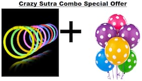Crazy Sutra Party Decoration Supply Combo Special Offer: Multicolor Polka Dot Printed Balloons (Pack of 25) + Glow Sticks Bands - Premium Lumistick Bracelets - 100 pcs Set Assorted Colours