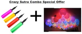Crazy Sutra Party Decoration Supply Combo Special Offer: Crazy Sutra Pack Of 25 Premium Quality Led Balloons + Handy Air Balloon Pump