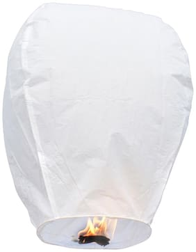 Crazy Sutra Make A Wish Paper Flying Balloon Kites Sky Lanterns Wishing Lamp -(white- Pack Of 2)
