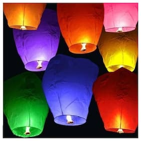 Crazy Sutra 5-Piece Make A Wish High Flying Sky Lantern Balloon with Fuel Wax Candle;Multicolour
