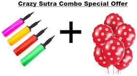 Crazy Sutra Party Decoration Supply Combo Special Offer: Red Polka Dot Printed Balloons (Pack of 50) + Handy Air Balloon Pump