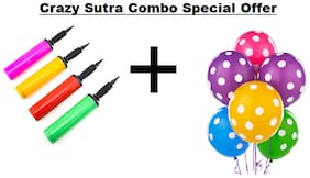 Crazy Sutra Party Decoration Supply Combo Special Offer: Multicolor Polka Dot Printed Balloons (Pack of 25) + Handy Air Balloon Pump