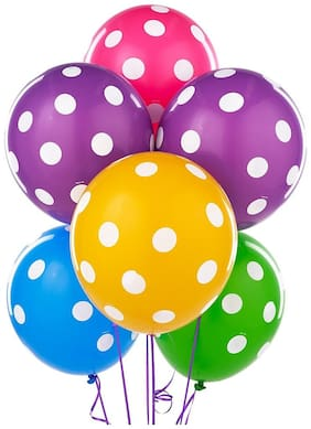 Crazy Sutra Colorful Polka Dot Printed Multicolor Balloon (Pack of 25)