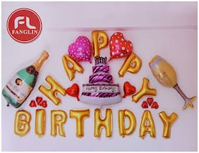 Crazy Sutra Happy Birthday Alphabet Letter Foil Balloon With Champagne Bottle And Glass - Gold Letters;Birthday Party Decorations