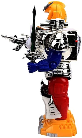 crazy toys Combat Hero Robot With Music And Lights Face Changing Combat Hero Robot Moving on Wheel Robot with Sword and Gun Robotics Toy