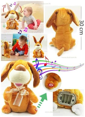 crazy toys Dancing & Singing Plush Dog Cute Dancing Dog Singing Music Plush Soft Toy Dog Ears, Hands Moves up Down Premium Quality Fluffy Dog - Brown