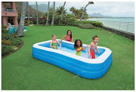 crazy toys Intex Swim Center Family Inflatable Pool, 6 Yrs 120x72x22 inch (Blue)