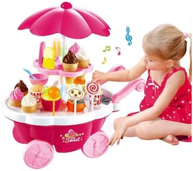 crazy toys Ice Cream Kitchen Play Cart Kitchen Set Toy with Lights and Music - 39 pc