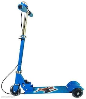 Crazy Toys Metal Alloy 3 Wheel Foldable Height Adjustable Scooter with Break and Bell