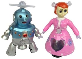 crazy toys Multicolour Plastic Robot and Doll
