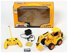 crazy toys Remote Control 360 Jcb Construction Loader Excavator Truck Toy (Yellow)