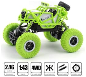 crazy toys Waterproof 1:43 Scale 2.4 GHZ Dirt Drift Remote Controlled Rock Crawler RC Monster Car, 4 Wheel Drive (Multicolour)