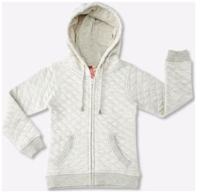 Pink & Blue Girl Polyester Solid Winter jacket - Cream