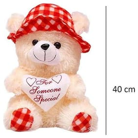 Cream & Red Color Cap Teddy bear 40 cm