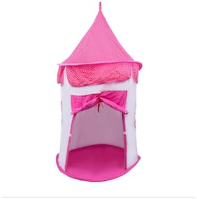 Creative Textiles Cotton Pink & White Tent House/ Play House For 3 Yr And Above Kids (Size : 150H X 100L X 100D Cm)