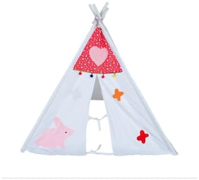 Creative Textiles Cotton Red & White Tent House/ Play House For 3 Yr And Above Kids (Size : 130H X 100W Cm)