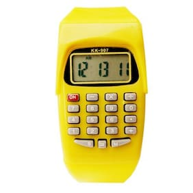 Creator  KK-907-Yellow-Calculator-Date-AM-PM Time Digital Fashion Watch For Boys And Girls